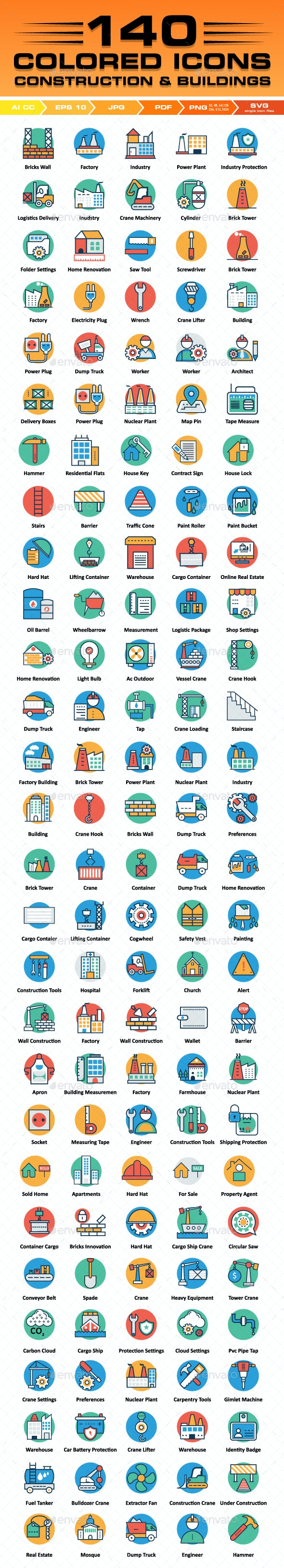 140 Construction Icons Color Vector Icons Set - Icons