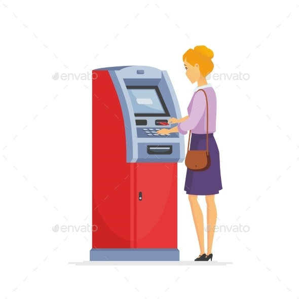 Young Woman Using ATM - Cartoon People Characters - People Characters