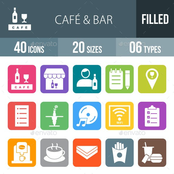 Cafe & Bar Flat Round Corner Icons