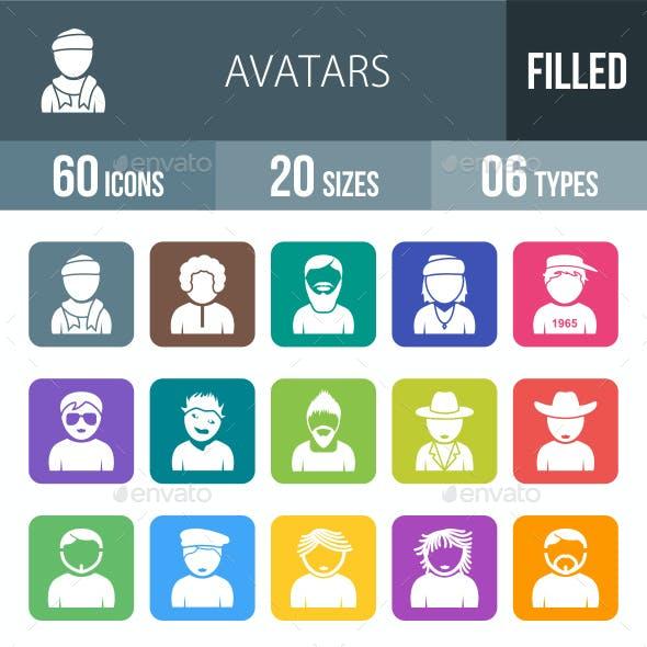Avatars Flat Round Corner Icons