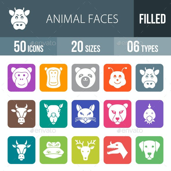 Animal Faces Flat Round Corner Icons