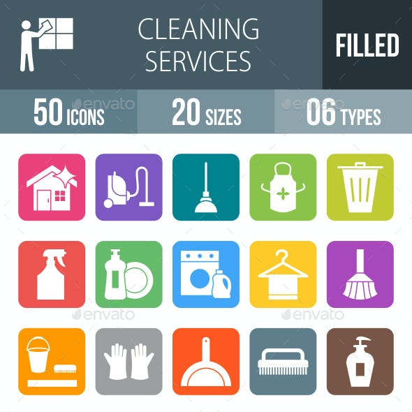 Cleaning Services Flat Round Corner Icons