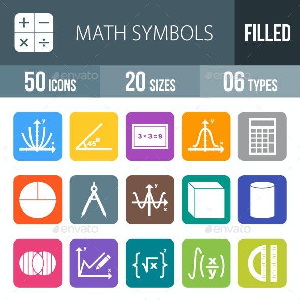 Math Symbols Flat Round Corner Icons