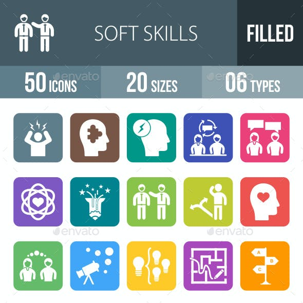 Soft Skills Flat Round Corner Icons