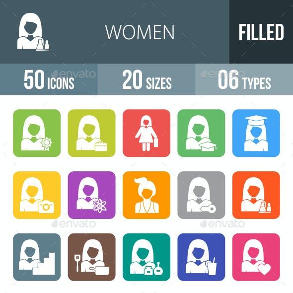 Women Flat Round Corner Icons