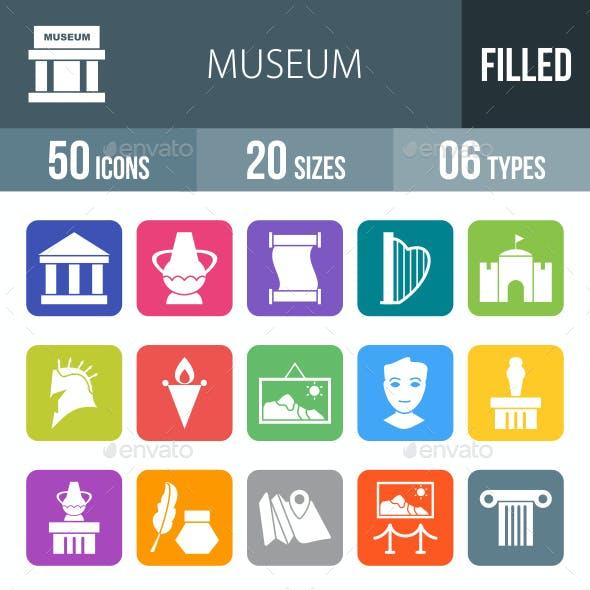 Museum Flat Round Corner Icons