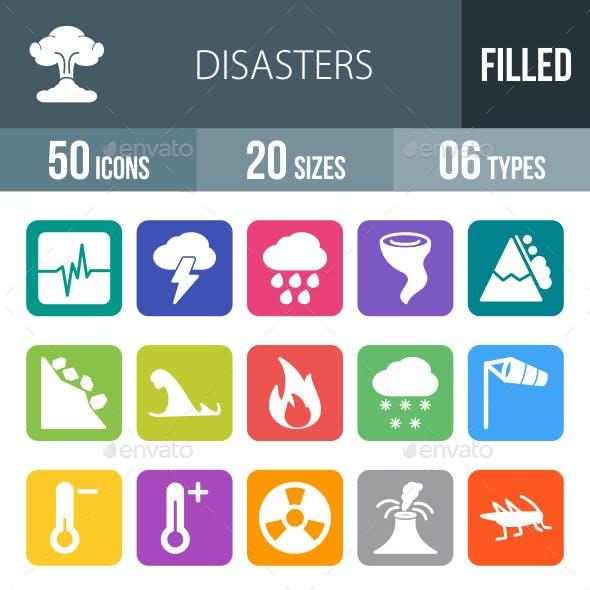 Disasters Flat Round Corner Icons