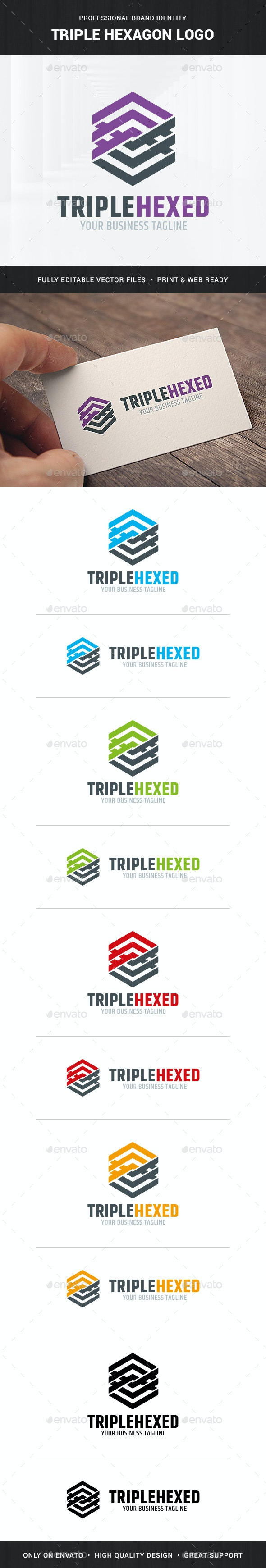 Triple Hexagon Logo Template - Vector Abstract