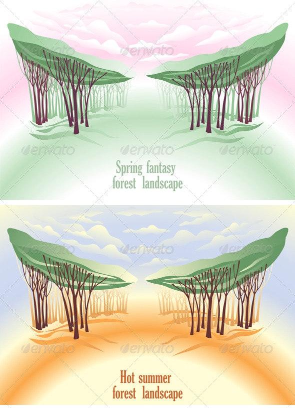 Spring Fantasy Forest Landscape - Backgrounds Decorative