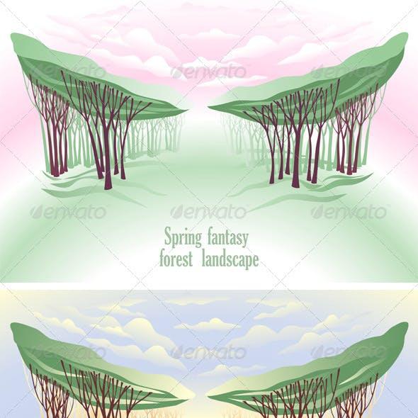 Spring Fantasy Forest Landscape