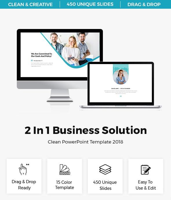 Bundle 2 in 1 Business Solution Clean Presentation Template 2018 - PowerPoint Templates Presentation Templates