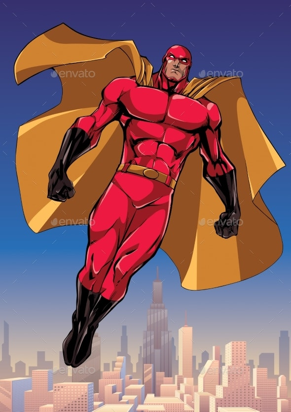 Superhero Flying Above the City - People Characters
