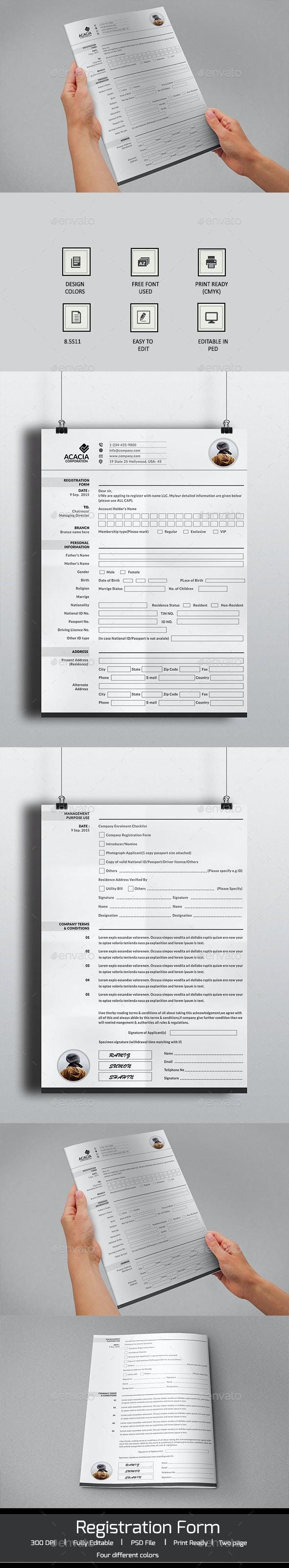 2 Page Registration Form - Miscellaneous Print Templates