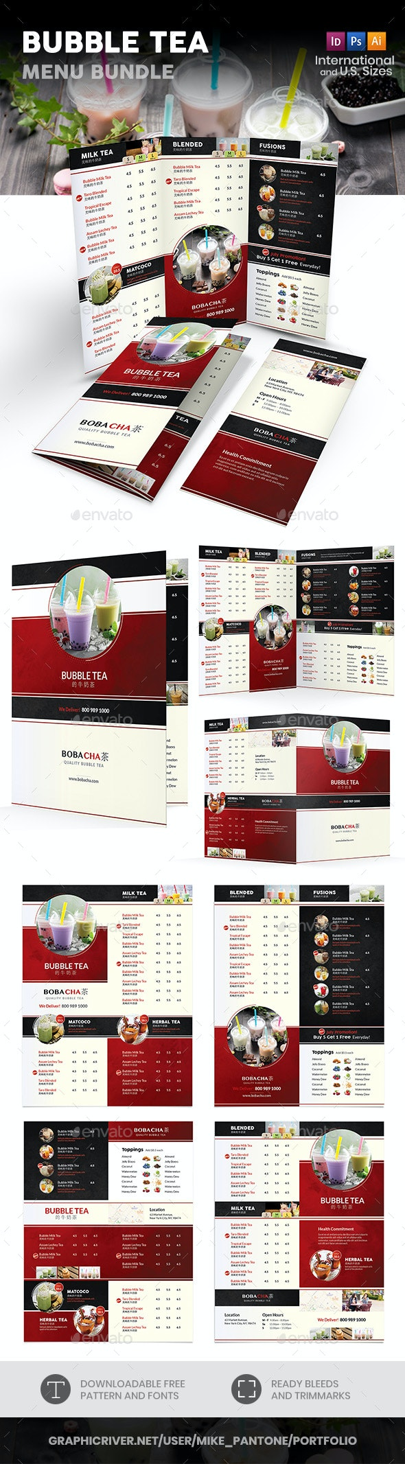 Bubble Tea Menu Print Bundle 2 - Food Menus Print Templates