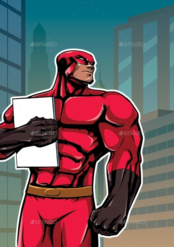 Superhero Holding Book in City Vertical - Backgrounds Decorative