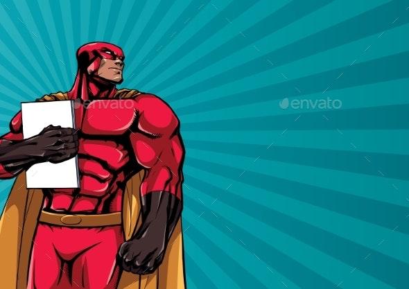 Superhero Holding Book Background - Backgrounds Decorative