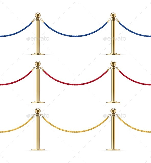 Seamless Golden Barrier with Rope for VIP Presentation - Man-made Objects Objects
