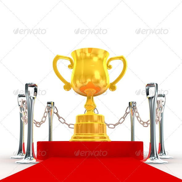 Trophy on Red Stage