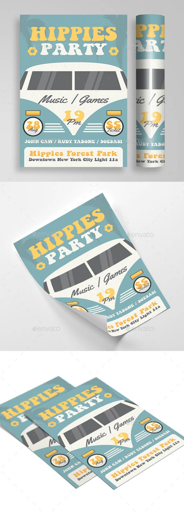 Hippies Music Party - Events Flyers