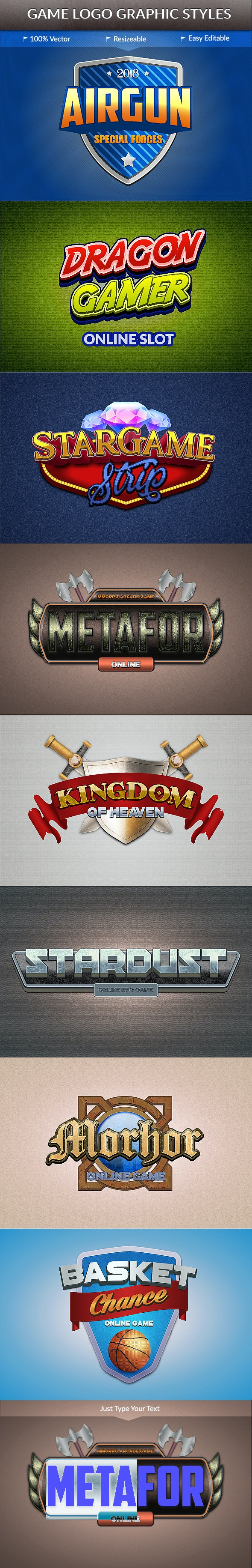 Game Logo Text Styles - Styles Illustrator