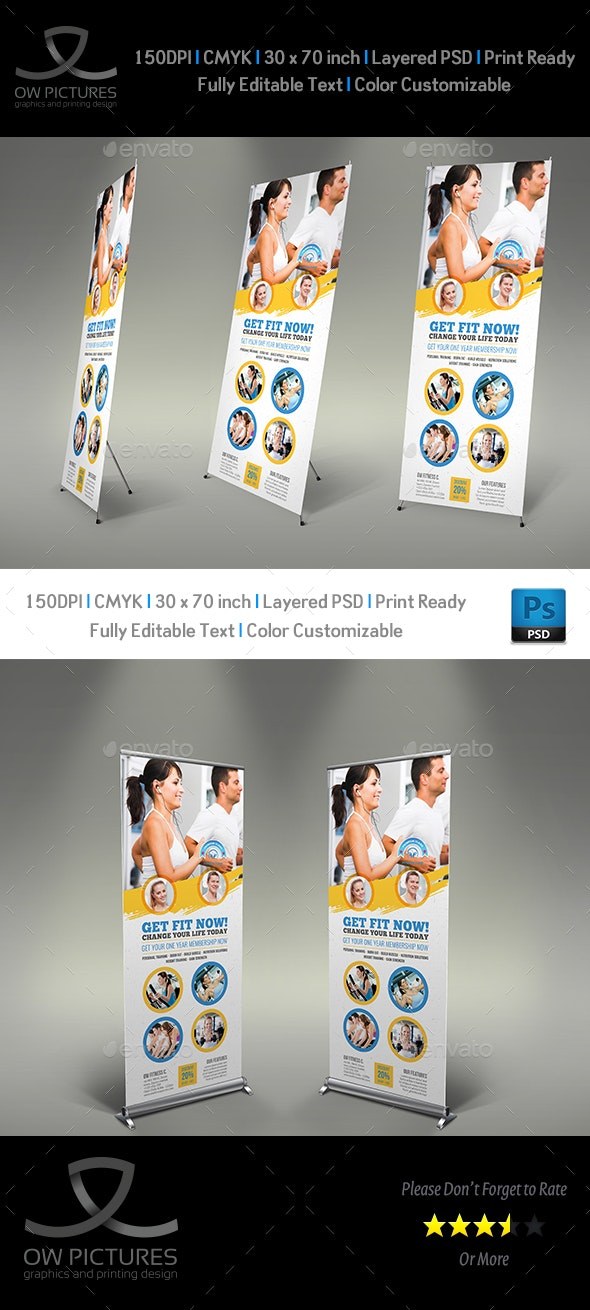 Fitness GYM  Roll Up Signage Banner Template Vol.3 - Signage Print Templates