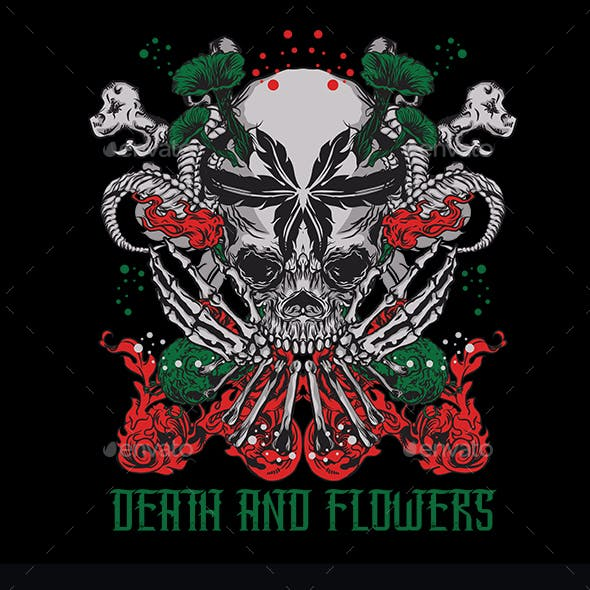 Death And Flowers T-shirt Design