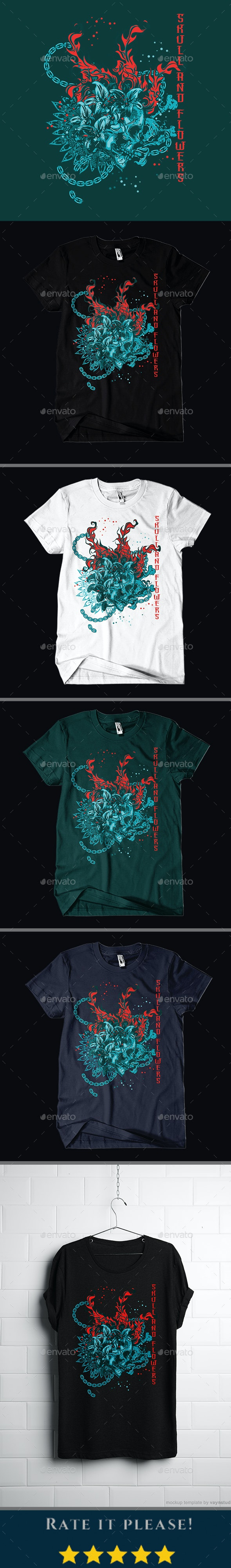 Skull And Flowers T-shirt Design - Grunge Designs