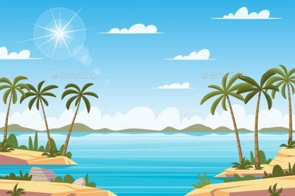 Tropical Landscape with Palm Trees - Landscapes Nature