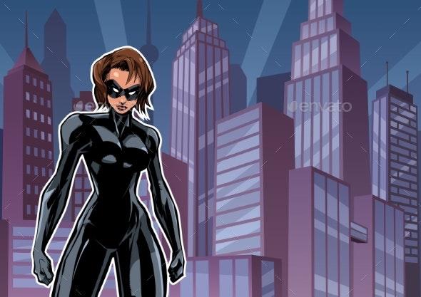 Superheroine Battle Mode City - People Characters