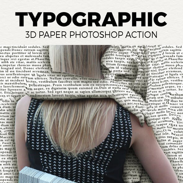 Typographic 3D paper Photoshop Action