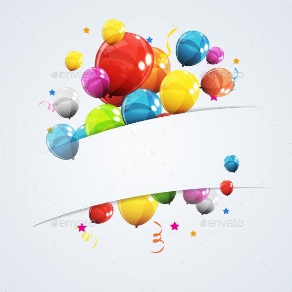 Color Glossy Happy Birthday Balloons Banner - Birthdays Seasons/Holidays