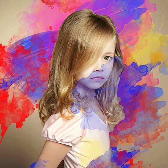 Water Color Splash Photoshop Action