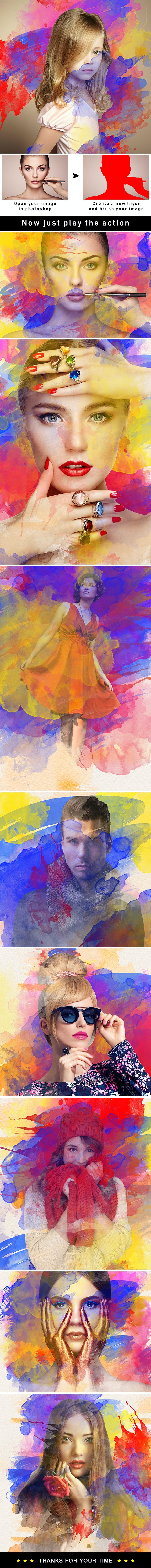 Water Color Splash Photoshop Action - Photo Effects Actions