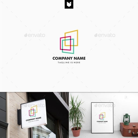 Colorful Square Abstract Perspective Logo
