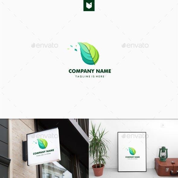 Geometric Leaf Herb Logo