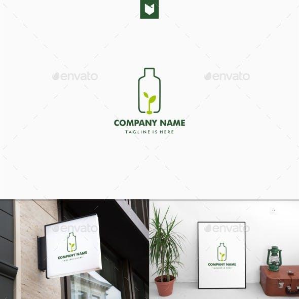 Plastic Bottle Seed Leaf Green Logo