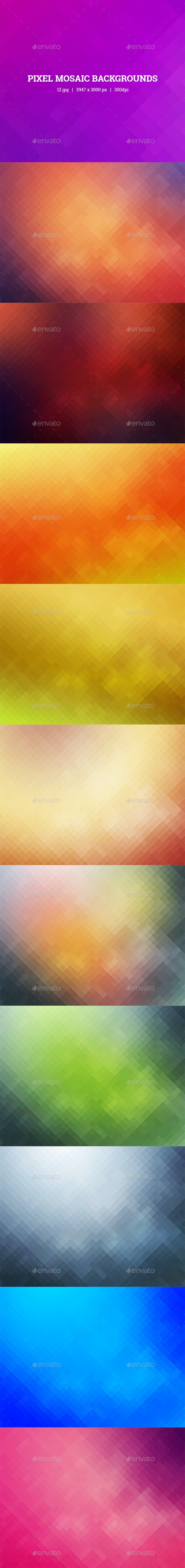 Pixel Mosaic Backgrounds - Backgrounds Graphics