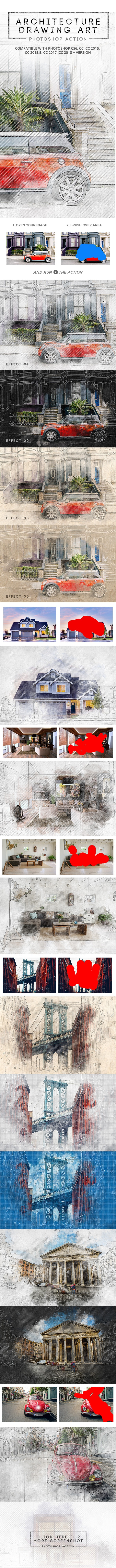 Architecture Drawing Art - Photoshop Action - Photo Effects Actions