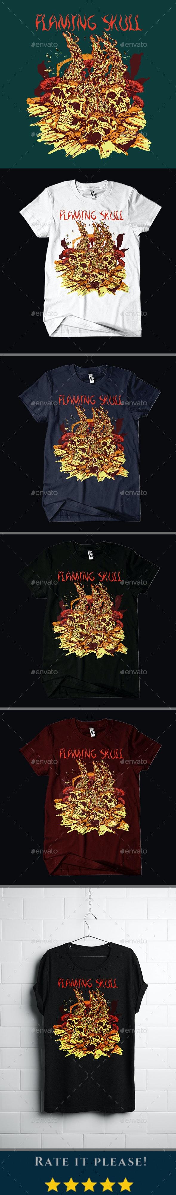 Flaming Skull T-shirt Design - Grunge Designs