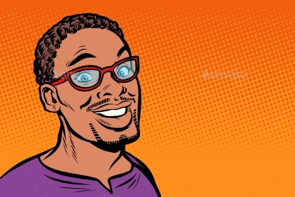 Man Smiling Hipster with Glasses - People Characters
