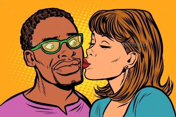 Woman Kisses a Man Multi-Ethnic Couple - People Characters