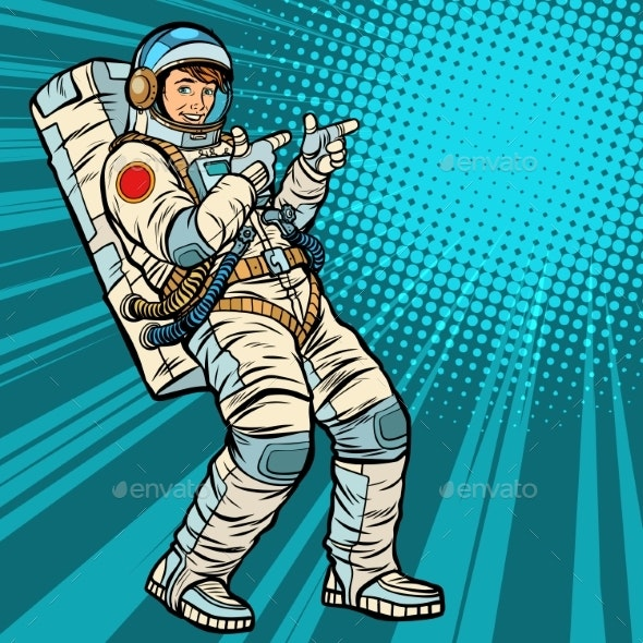 Astronaut Young Man Points - People Characters