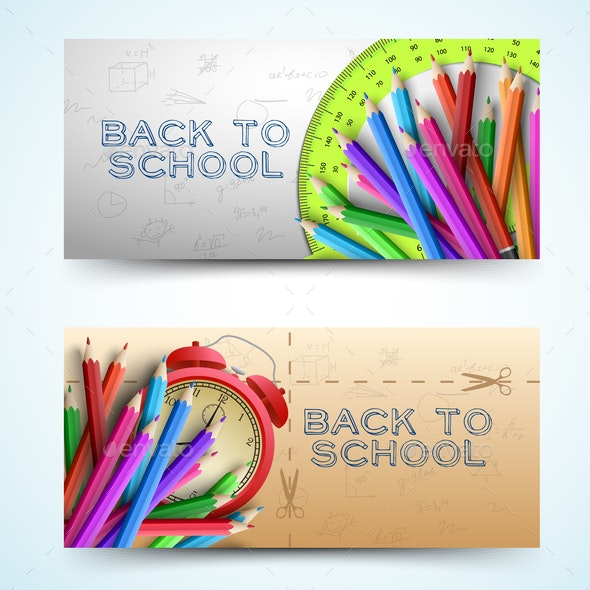 Two Scholastic Banner Set - Miscellaneous Vectors