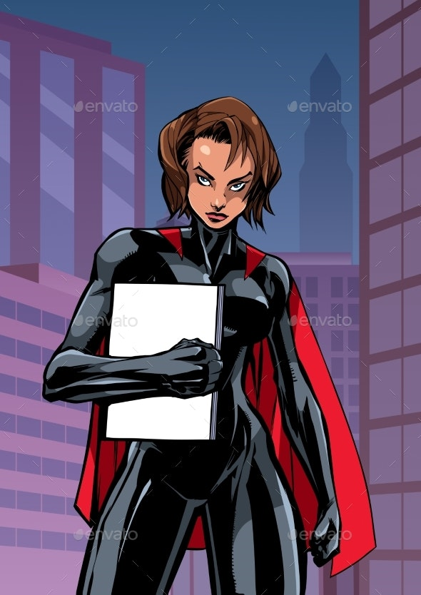 Superheroine Holding Book in City Vertical - People Characters