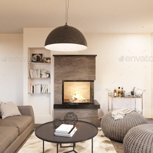 3d Render Living Room Interior Design in the