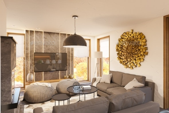 3d Render Modern Living Room Interior Design with - Architecture 3D Renders