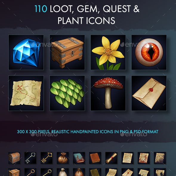 Loot Gem Quest And Plant Icons