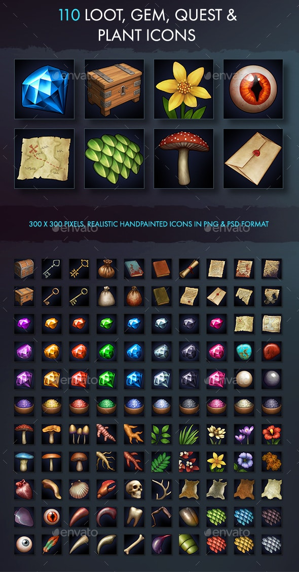 Loot Gem Quest And Plant Icons - Miscellaneous Game Assets
