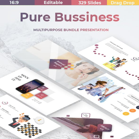 Pure Business Bundle 2 in 1 Powerpoint Template