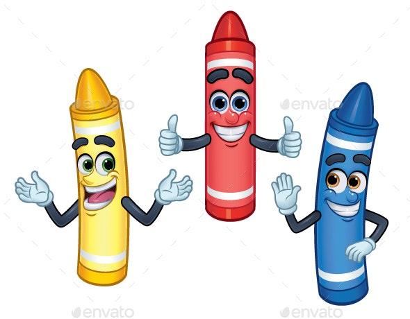 3 Cartoon Character Crayons - Miscellaneous Characters